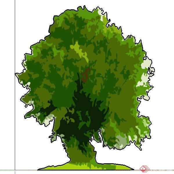 设计素材之景观植物手绘树设计素材su模型3