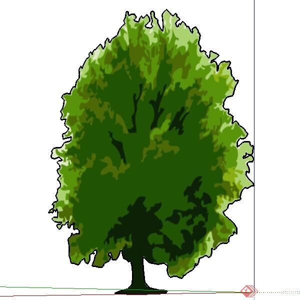 一个2d手绘景观树su模型素材