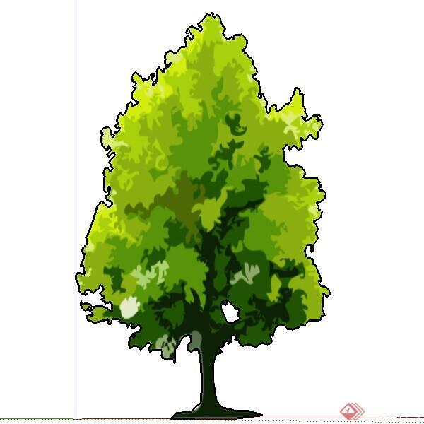 一个2d手绘树木su模型素材图片