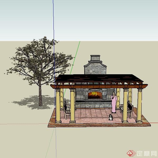 一个欧式壁炉架 景观花架架设计的su模型