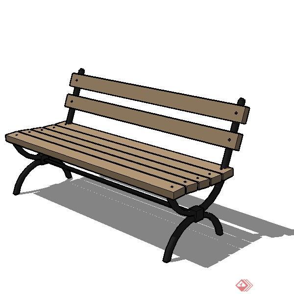 一个3d景观木长椅su模型素材图片