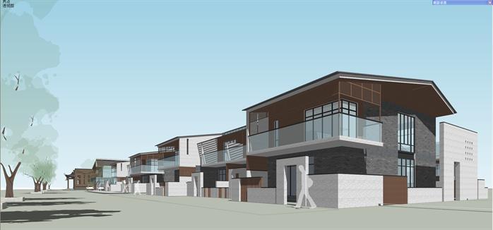 某新中式售楼处和住宅别墅建筑设计su模型2图片