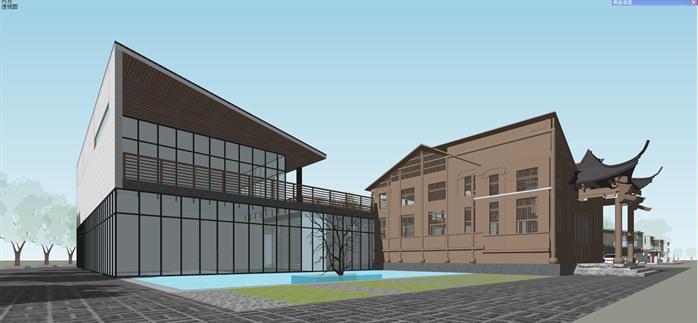 某新中式售楼处和住宅别墅建筑设计su模型4图片
