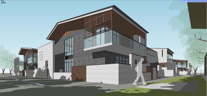 某新中式售楼处和住宅别墅建筑设计su模型5图片