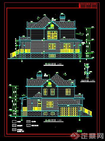 某新农村多层欧式别墅建筑设计方案13(dwg格式)
