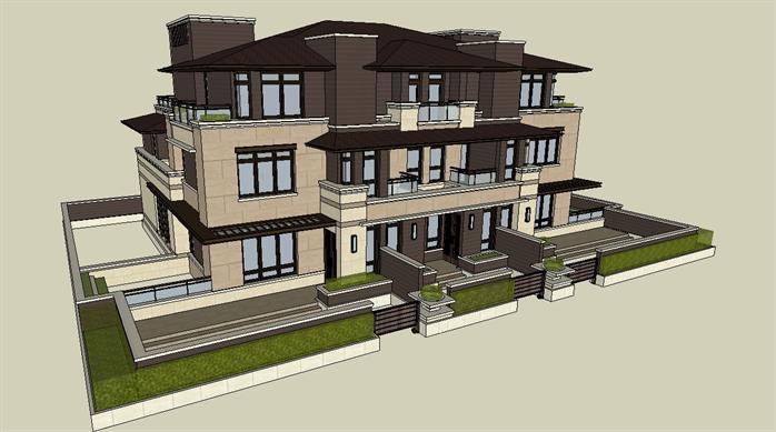 三联排别墅设计,长13米宽18米,坐南向北,二层半,一客厅一厨房一饭厅