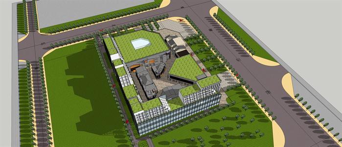 某商业中心建筑规划设计su模型,模型场景较大,制作精细,细节处理到位