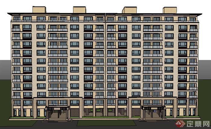 某现代小高层住宅楼建筑设计方案su模型(2)