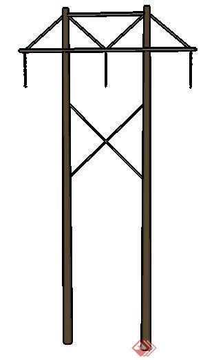 设计素材之街景素材电线杆设计素材su模型1