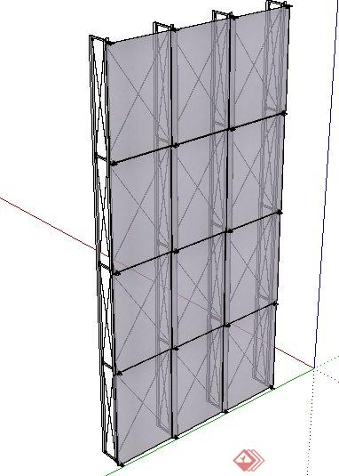 一个毛玻璃墙面su设计模型素材