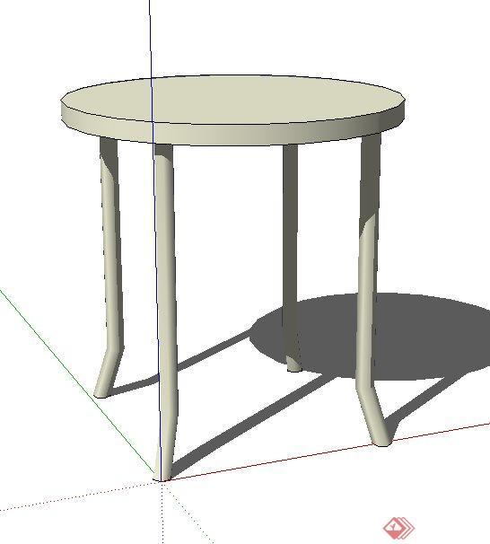一个现代风格圆桌su设计模型素材(1)
