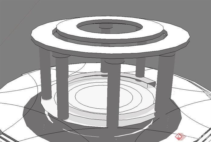 一个欧式风格亭子su设计模型素材(1)