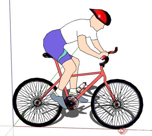 一个人骑自行车设计的SU模型图片