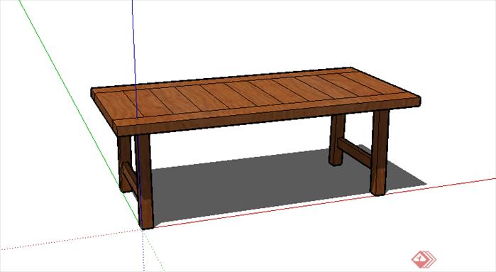 某现代风格家具木质坐凳条凳su模型素材