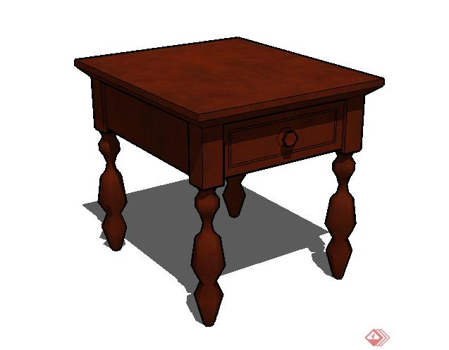某古典中式风格小方桌家具su模型素材