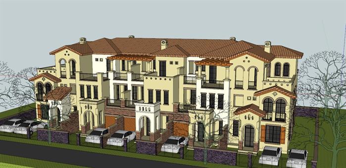 某西班牙风格五拼联排别墅建筑设计su模型[原创]