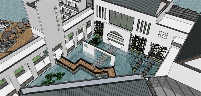 江南某新中式风格商业街建筑设计su模型图片