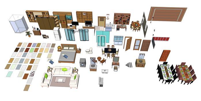 多个现代风格室内家具设计su模型素材