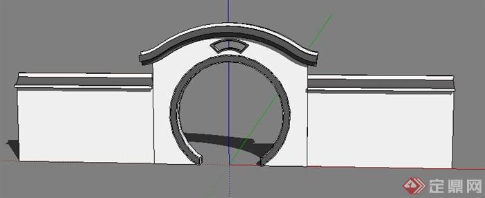 古典中式气息圆形拱门SU模型
