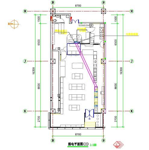 某便利店装修设计弱电平面图(1)