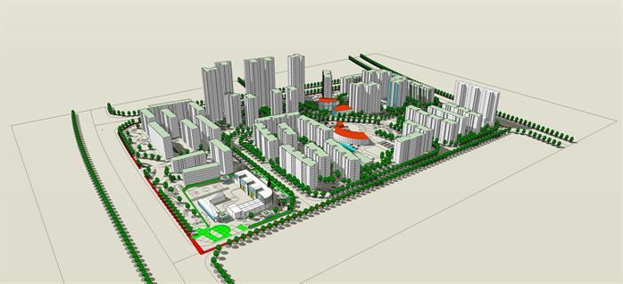 某現代風格居住區建筑景觀總體規劃su設計方案模型