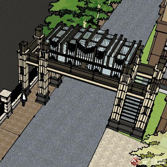 某欧式小区大门入口设计方案su模型[原创]
