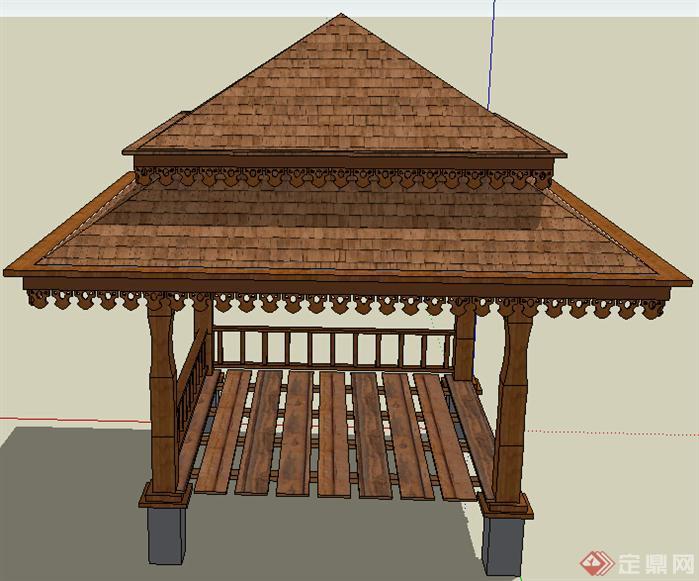 园林景观之泰式休闲木亭子设计方案su模型(2)