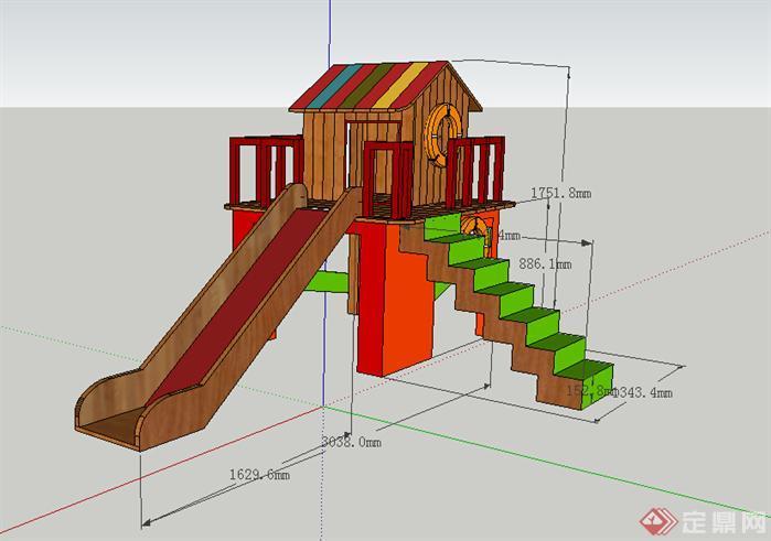 设计素材之游乐设施儿童滑梯设计素材su模型