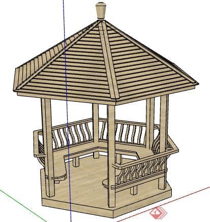 某防腐木制六角亭景观设计su模型