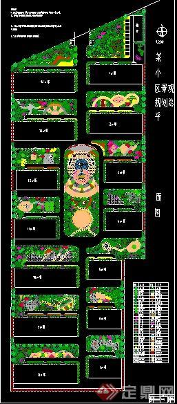某住宅小区景观规划总平面图,内容包含了景观铺装和植物配置,附带一