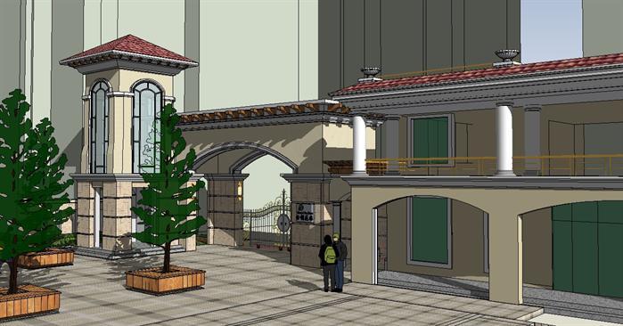 某花园简欧式大门设计方案su模型[原创]