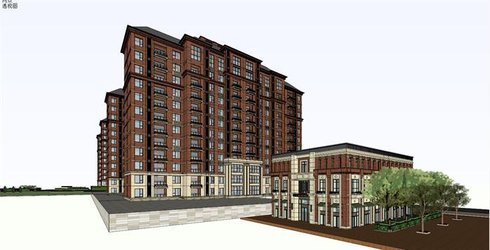 某住宅小区 沿街商业 会馆建筑设计su模型