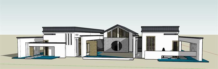 某新中式会所建筑设计su模型图片