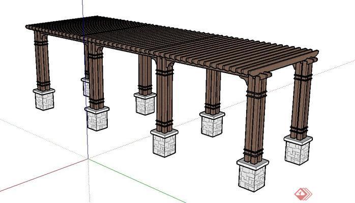 一个现代中式景观花架su模型素材(1)图片