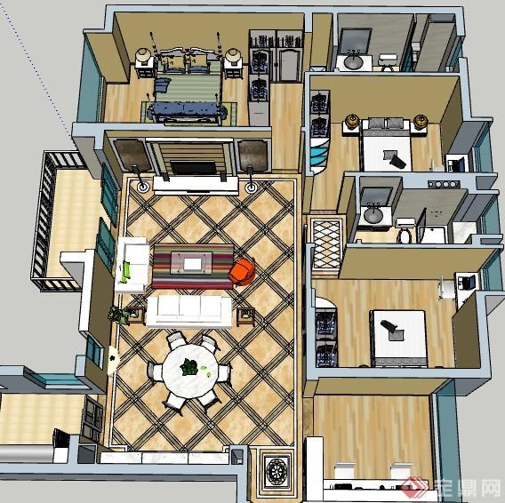 某簡歐風格住宅室內裝飾設計su模型[原創]
