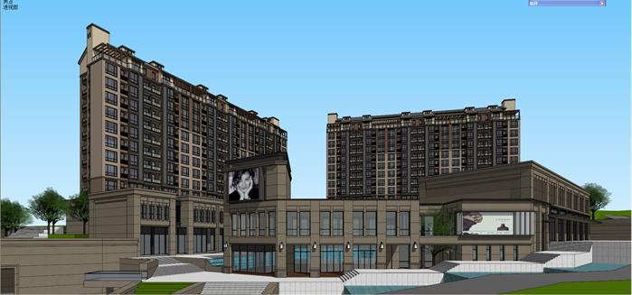 某欧式山地住宅楼,商业广场建筑设计方案su模型[原创