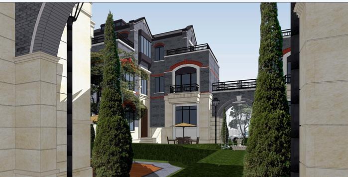 保利某民国风格合院别墅建筑设计方案su模型