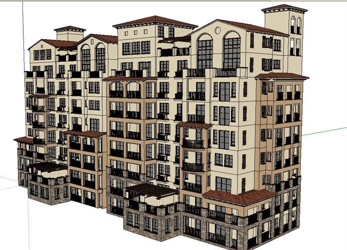 某地中海风格洋房小高层住宅楼建筑设计方案su模型