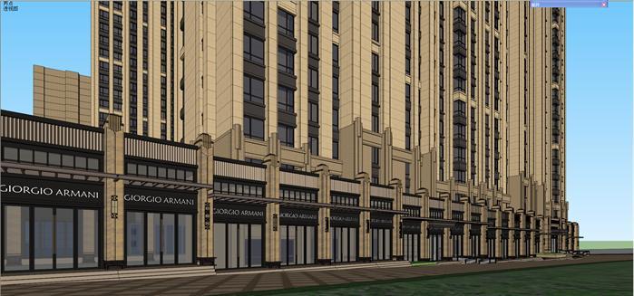 某新古典高层住宅+沿街商业建筑设计su模型[原创]