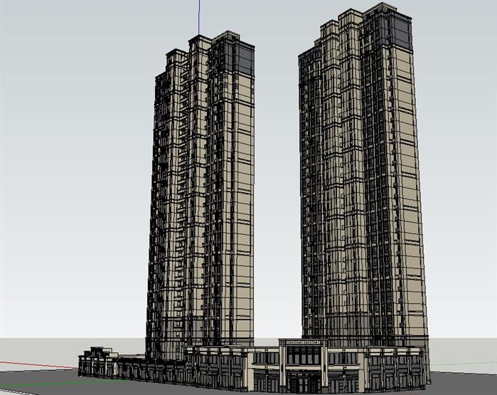 福州某新古典商业裙楼 高层住宅建筑设计方案SU模型