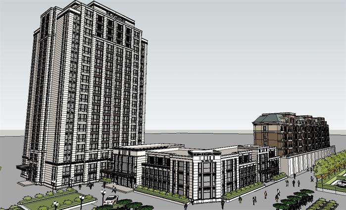 某新古典风格酒店公寓,商业会所建筑设计方案su模型(3)
