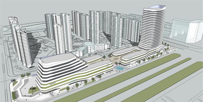城市商業,辦公大型綜合體建筑設計方案su模型[原創]