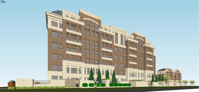 某欧式双拼多层洋房公寓建筑设计方案su模型[原创]