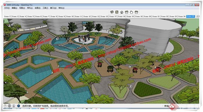 某现代风格大型水景公园景观规划设计su模型素材