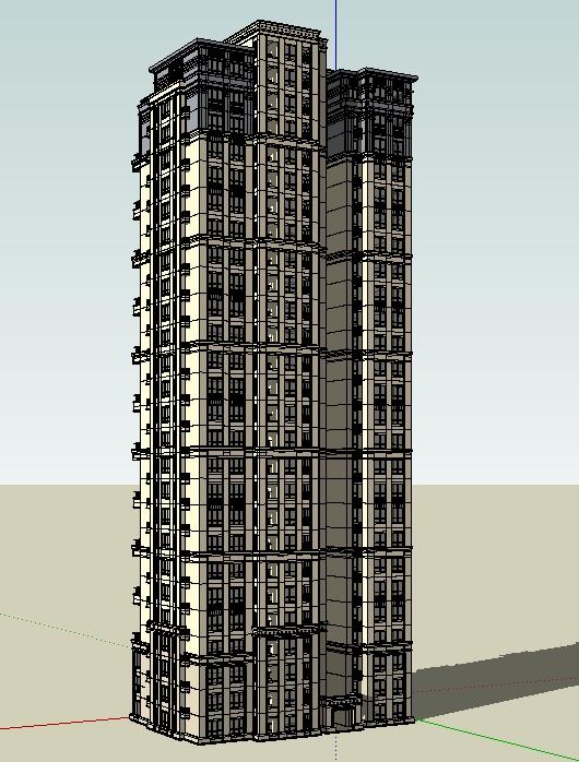 杭州萧山某小区高层欧式住宅楼就做设计方案su模型