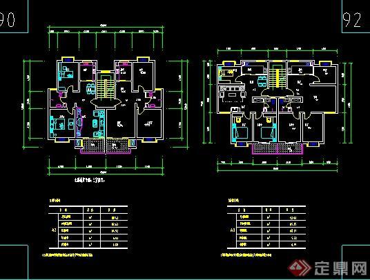 多个多层住宅建筑设计户型图