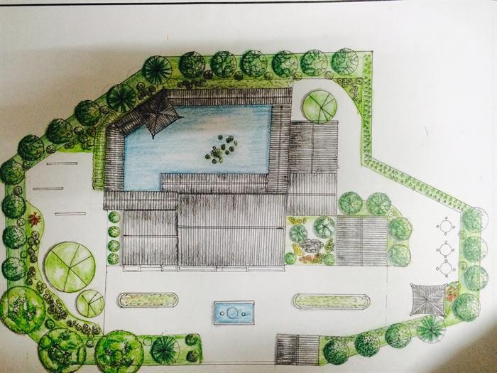 某古典中式风格茶室建筑手绘设计方案[原创]