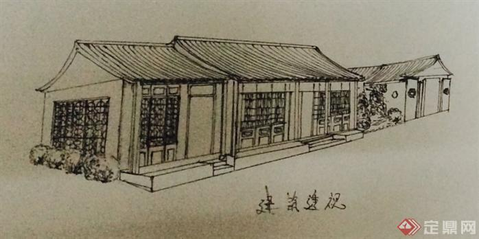 某古典中式风格茶室建筑手绘设计方案