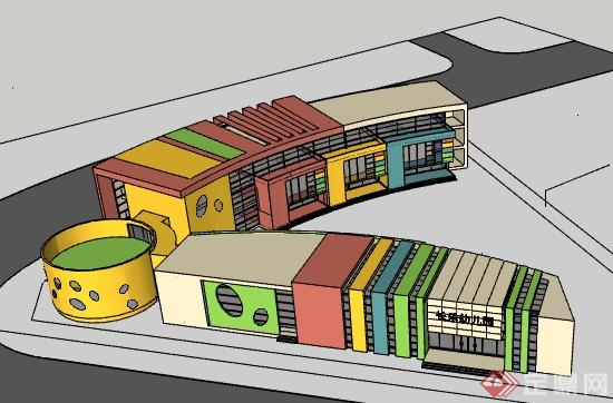 某现代风格幼儿园建筑设计su模型,建筑设计造型独特,弧形幼儿园,色彩