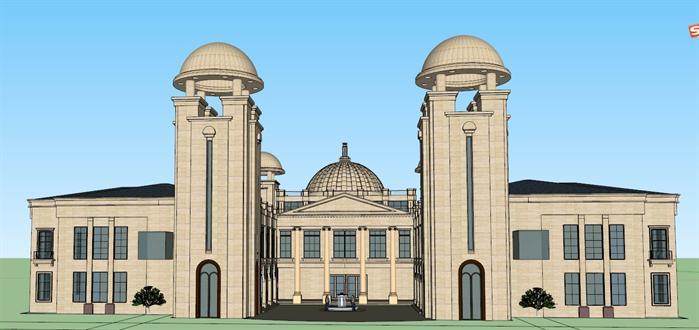 某欧式政府行政办公楼建筑设计su模型